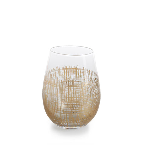 Stemware - Gold Crosshatch Barware