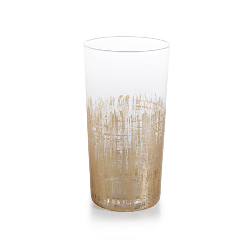 Hi-Ball Glass - Gold Crosshatch Barware
