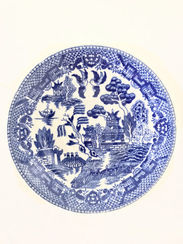 Blue and White Blue Willow Chinoiserie Saucers