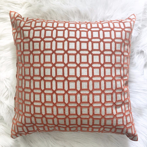 Clay Trellis Canvas and Velvet Pillow - Made In-house