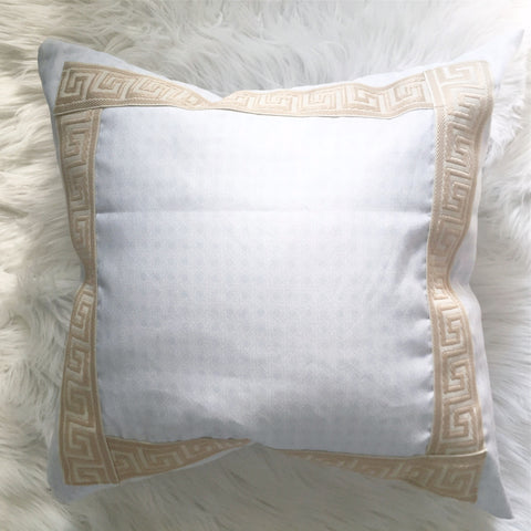 Lattice Cane Linen Cotton Canvas Pillow with Greek Key Trim - Made In-House