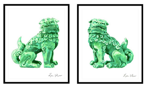 Pair of Foo Dogs Green Jade China Watercolor (2 Giclee Prints)