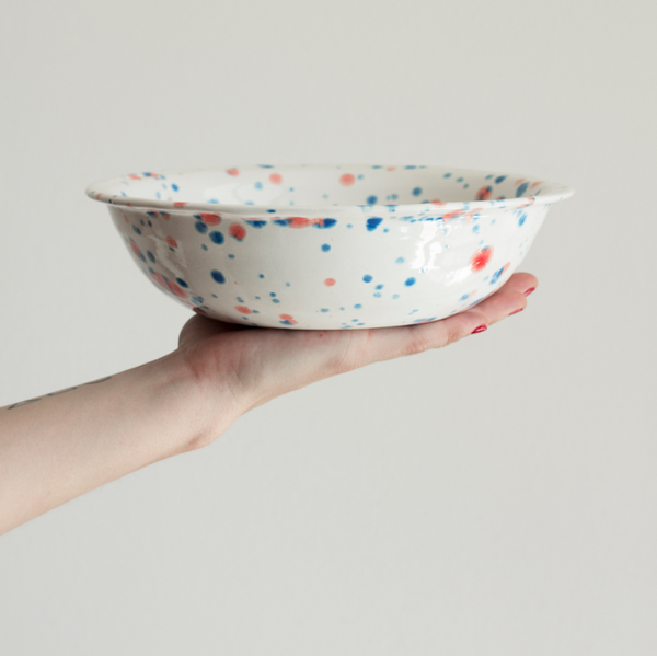 Handmade Red and Blue Splatter Small Bowl