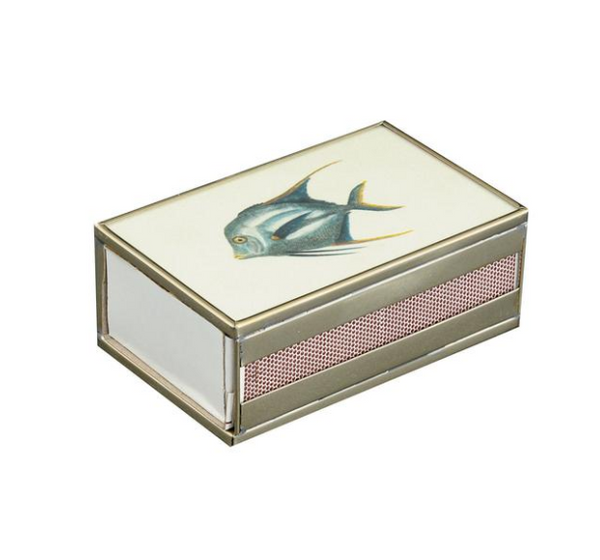 Nickel and Glass Matchbox Cover - Blue Fish