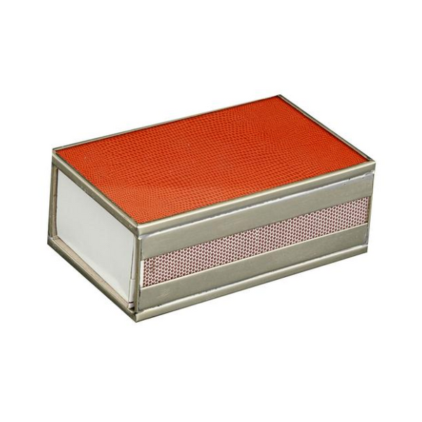 Nickel and Glass Matchbox Cover - Orange