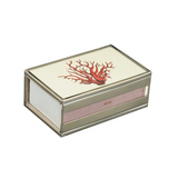 Nickel and Glass Matchbox Cover - Red Coral
