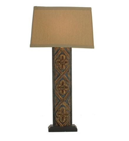 Hand Carved Green Wood Lamp