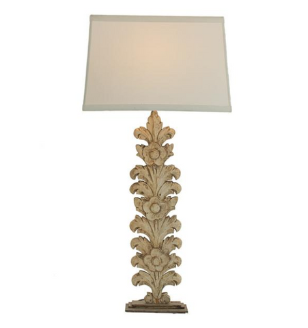 Hand Carved Wooden Palm Lamp with Metal Base