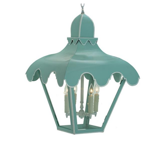 Parisian Blue Scalloped Hanging Lantern