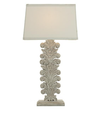 Large Hand Carved Wooden Palm Lamp