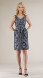 Navy Metallic Jacquard Dress