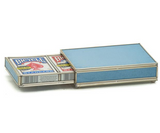 Nickel and Glass Playing Card Box - Blue Skin