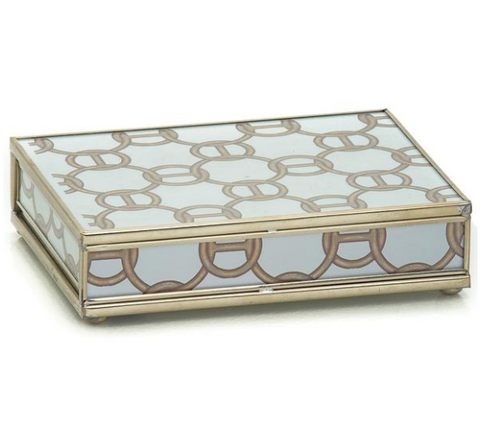 Nickel and Glass Playing Card Box - Brown Chain