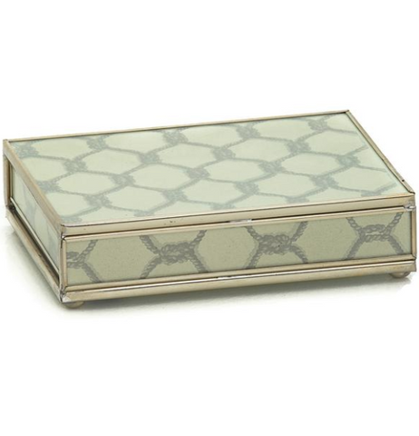 Nickel and Glass Playing Card Box - Grey Knot