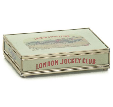 Nickel and Glass Playing Card Box - London Jockey Club