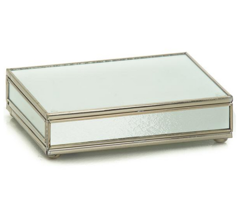 Nickel and Glass Playing Card Box - Mirror