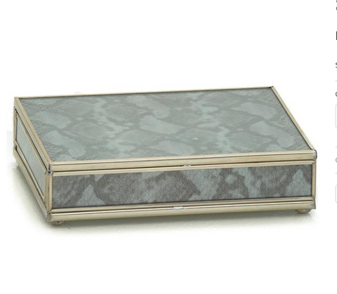 Nickel and Glass Playing Card Box - Silver Python