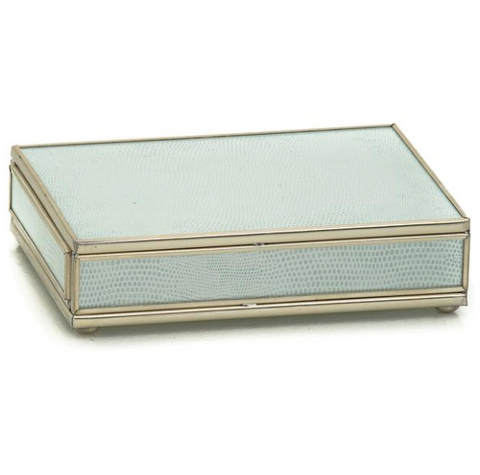 Nickel and Glass Playing Card Box - White Skin