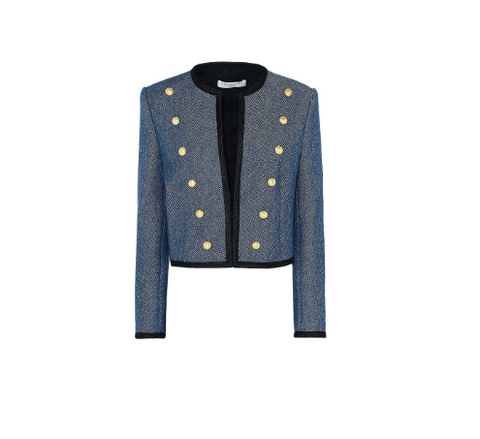 cropped military denim blazer