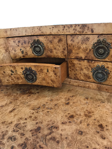 Art Deco Burl Wood Secretary Desk