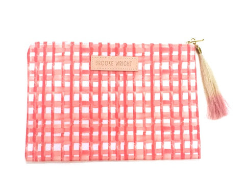 Coral Gingham Clutch