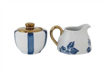 Blue and White Creamer and Sugar Bowl with Gold Detail - Set of 2