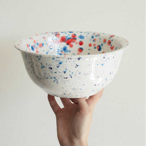 Handmade Red and Blue Splatter Bowl