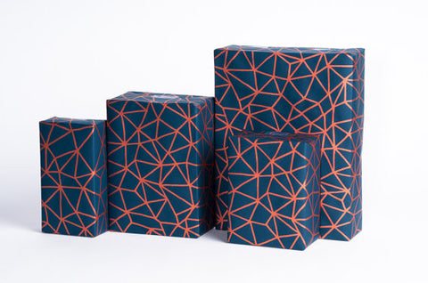 Copper and Navy Geometric Custom Printed Gift Wrap