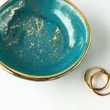 Teal and Gold Splatter Ring Dish