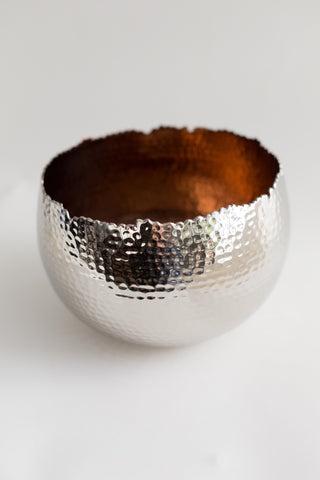 Hammered Metal and Copper Artisan Bowl