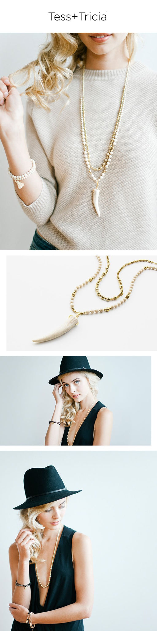 Nude + Gold Fall 2015 Jewelry Trend featuring Antler Tip Pendant and Natural Stone Beading by Tess+Tricia