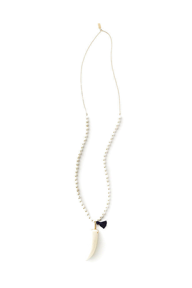 Stone and Chain Antler Tip Necklace with Navy Tassel by Tess+Tricia