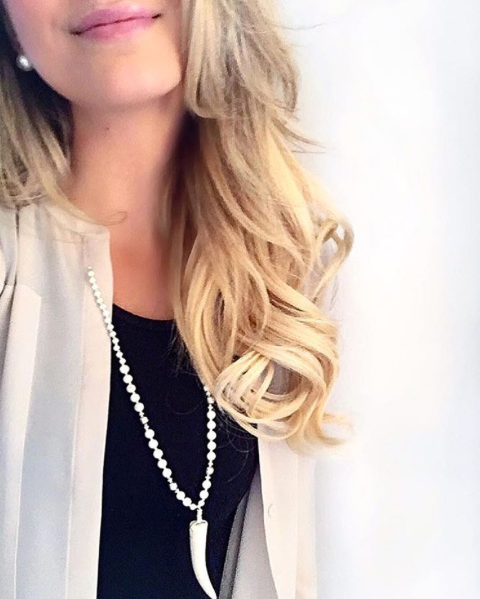 tessandtricia?? Hey there, gorgeous! @styledwithstrength stunning as always wearing our Luna White Turquoise and Silver Mix Antler necklace from @equationmn ? #tessandtricia #alwaysbelovely #shoplocal