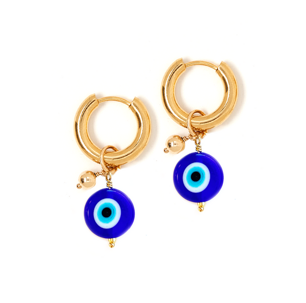 Evil Eye Small Hoop Charm Earrings
