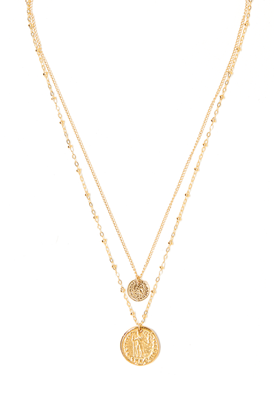 Duo Coin Charm Necklace