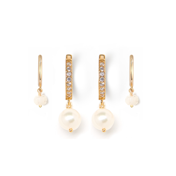 Pearl + White Moonstone Huggie Earring Set