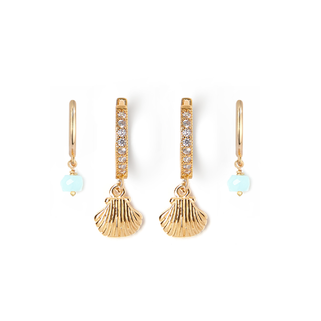 Shell + Blue Opal Huggie Earring Set