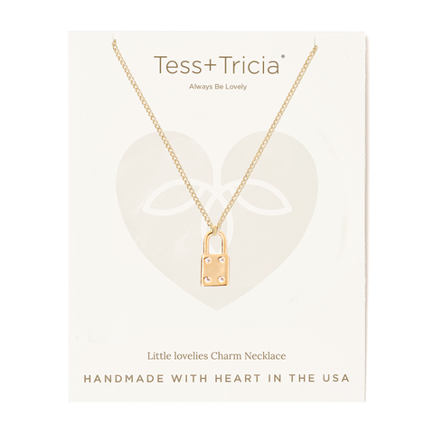 Little Lovelies Lock Carded Charm Necklace
