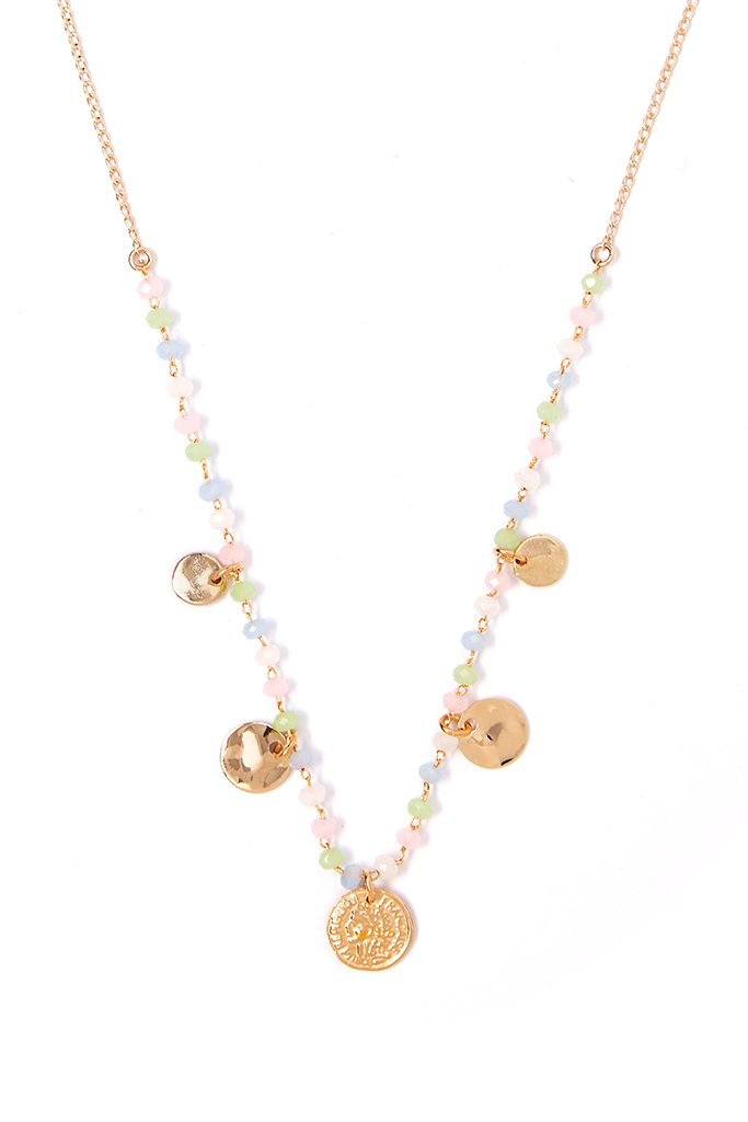Blue+Pink Graduated Coin Necklace