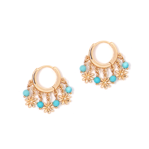 Daisy Turquoise Huggie Earring