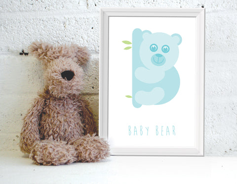 Alphanimals Baby Bear print in blue