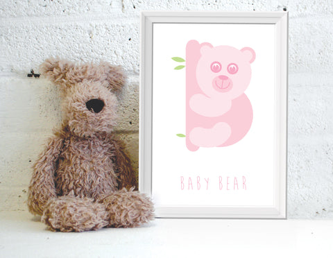 Alphanimals Baby Bear print in pink