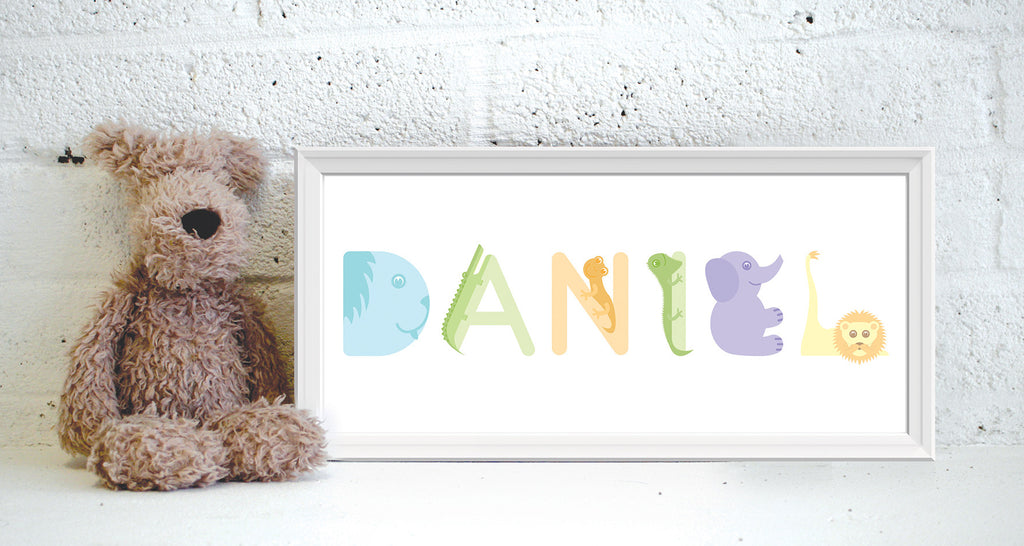 Alphanimals personalised long name print (unframed)