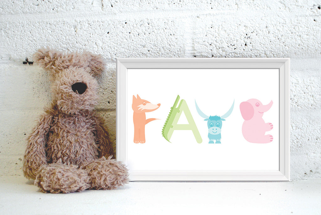 Alphanimals personalised short name print (unframed)