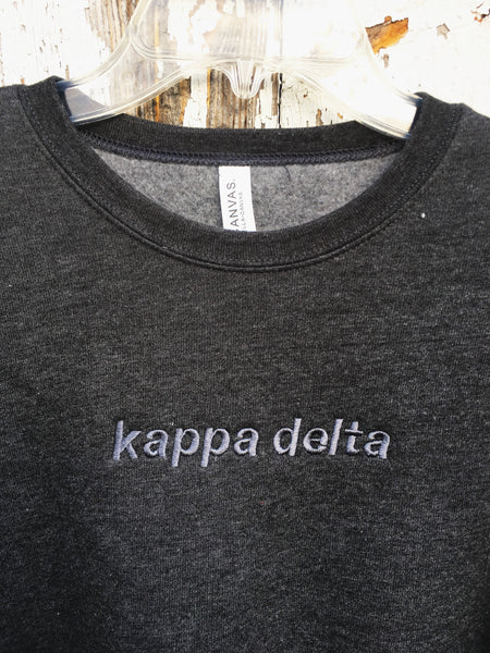 Tone-on-Tone Embroidered Sorority Crewneck