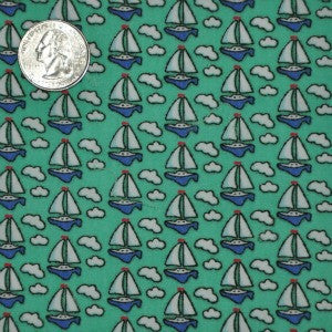 #208 Vineyard Vines Green Sailboats/Clouds