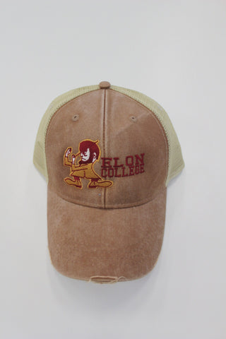Elon College Hat with Fighting Christian Mascot