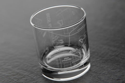 Elon Etched Rocks Glass
