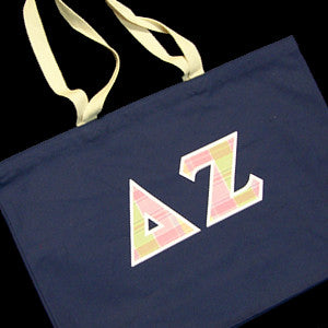 CANVAS GREEK LETTER TOTE