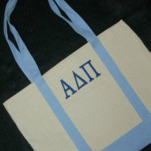 CANVAS BOAT TOTE W/ GREEK EMBROIDERY